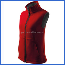 Red outdoor softshell vest for ladies