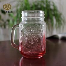 16oz clear glass mason jar with handle for sale