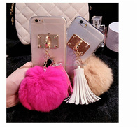Luxury Fox Crystal Fur Hard Phone Back Case Cover For iPhone 4S 5 5S 6s 6Plus