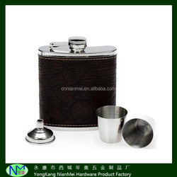 5oz men's black PU hip flask with metal funnel and shot glasses