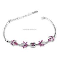 Snake Chain 925 Sterling Silver Bracelet, various fishes bracelet, violet cz bracelet