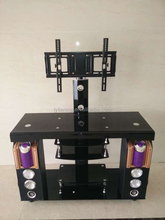 2015 new style bent tempered glass TV stand with audio