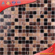 LS31 Coffee Shop Brown Amber Mosaic Golden Line Mosaic Tile