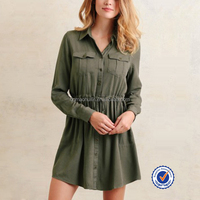 Guangdong wholesale fashion design all types of ladies dresses long sleeve shirt dress in green fashion summer dresses