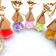 5ml Diamond Auto Car Perfume Hang Bottle Wooden Cap Car Air Freshener Hanging Crafts