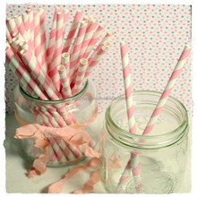 Food Grade Striped Paper Straws for Party Supply