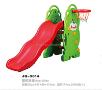 2014 Children Cartoon Plastic Slide With Basketball Hoop