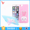 Factory price Loving cartoon rabbit ears holder mobile phone case for iphone 6 s silicon soft case