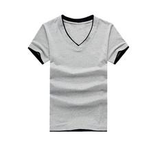 Fashion wholesale blank t-shirt cheap v-neck for men casual t-shirt