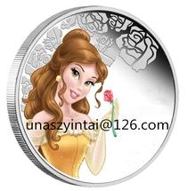 campione gratuito 2015 nuovo design Cenerentola cartoon moneta in argento