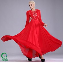 D088 2015 Women Red Lace Chiffon Latest Design Muslim Long Sleeve Maxi Dresses