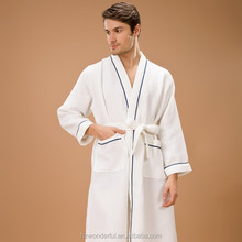 white kinomo waffle robe very very hot sex style for men with soft cotton material cotton robe