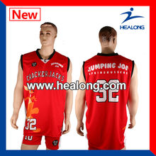 Sublimated customized red reversible basketball uniform,baketball wear,baketbal uniform