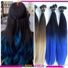 Full Cuticle Double Drawn Blonde Blue Pink Ombre Color 100 Remy Virgin Human Hair European Bulk Hair