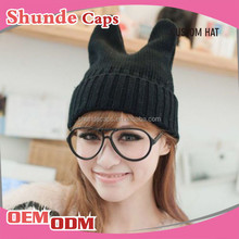 Wholesale Animal Knitted Woman Winter Hat Cap Cat Ear Knitted Hat