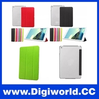 Luxury Stand PU Leather Case For ipad mini 4 With Clear Transparent Smart Back Cover
