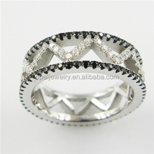 Fashion In USA Black&White Zircon Rhodium Plated Mirco Paved Sterling Silver Rings For Men