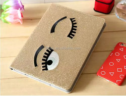 Tablet case cute eyes glitter stand leather sleeve case for ipad mini, for ipad case sleeve ,for ipad mini case cover
