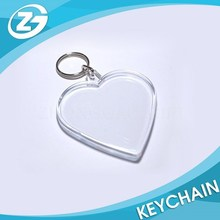 Wholesale Blank Acrylic Keyring Heart Shaped Acrylic Keyring