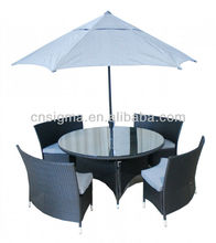 2015 Outdoor rattan round dining Garden Furniture Table Bench With Umbrella