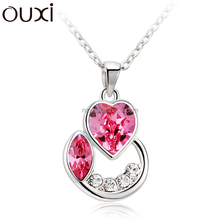 OUXI latest 2015 fashion moon curved love accessories necklace jewelry made with Swarovski element alloy rhodium plated 10728