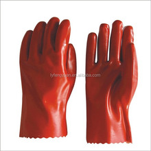 Cotton interlock fully coated Red PVC Gauntlet Gloves