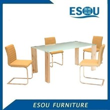Modern Home Design MDF Legs Frosted Glass Dining Table