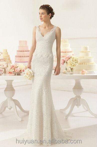 v vestido de boda verdadero atractivo del cuello del hombro de ...