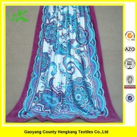 Wholesale Floral Printed Cotton Fringe Beach Towel For Adult
