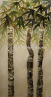 2013 design handmade pictures of bamboo craft painted on canvas BC13-2664