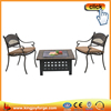Direct manufacture slate table top wood burning fire pit with rain cover
