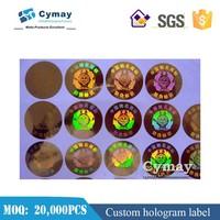 Custom hologram label,3D custom security laser sticker labels for CE PVC sticker
