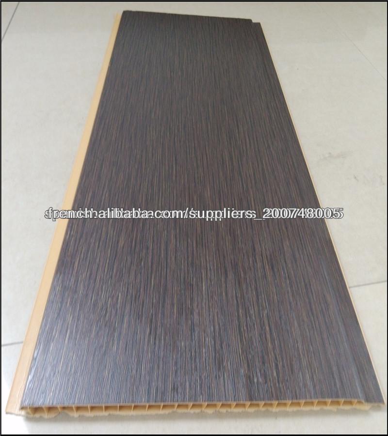 Bois couleur stratifi pvc panneaux de plafond en pvc faux for Materiaux faux plafond
