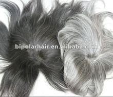 Straight hair gray human hair men's toupee