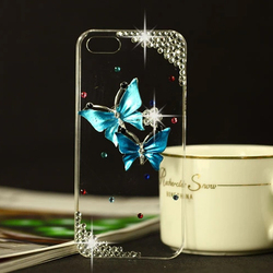 3D Rhinestone Case for iPhone 5 Butterfly Blue Dragonfly Cellphone Diamond Crytal Case