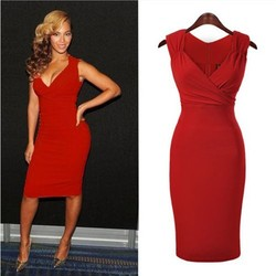 2015 Women Dresses Online Red Sexy Deep Plunge Neck Bodycon Celebrity Dress