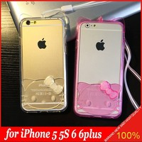 2015 Hot 3D Cute Kitty Cat Soft TPU Bumper Case with Lanyard Cover for Apple iPhone 5 5s 6 6plus
