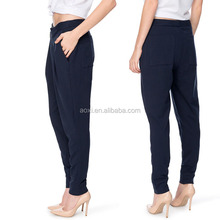 Oem service style fashion designing tapered trousers wrap women low crotch pants
