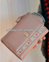 2014 Most popular Zipper Coin Pocket Design women leather Wallet purse
