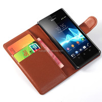 cell phone case for Sony Xperia Z4, Litchi pattern Wallet Flip Leather Case Cover for Sony Z4
