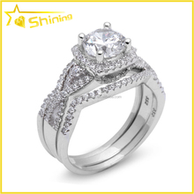wholesale good quality 3pcs women wedding long finger rings silver ring set