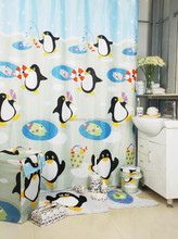 Happy PenguinBathroom Home and Hotel polyester Bathroom shower curtain