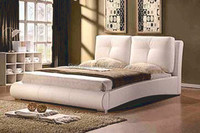 Modern White PVC PU Leather Bed for Bedroom Furniture
