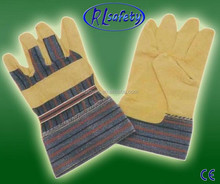 Yellow cow split leather double palm safety working gloves 2012