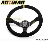 AUTOFAB - SP 350mm/14inch Deep Dished Sport Racing Suede Leather Alloy Steering Wheel DRIFTING AF-FXP03SP