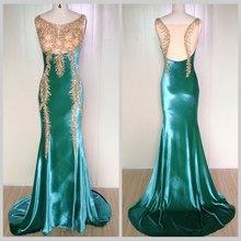 2015 Women's Grace Sleeveless Rhinestone Mermaid Velvet Formal Gown Prom Dress