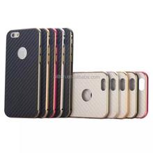 Carbon fiber cover+metal bumper phone case for iphone 5/6/6+