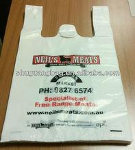Plastic t-shirt shopping bags for supermarket