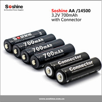 Soshine 3.2V LiFePO4 rechargeable battery AA / 14500 700mAh with button top