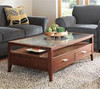 Glasss top wooden coffee table with drawers CT-29